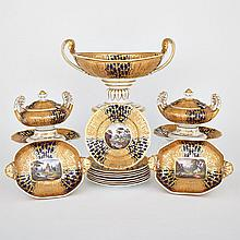 English Porcelain Apricot and Blue Ground Dessert Service, probably Spode, c.1810 (13 Pieces)
