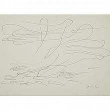 LISE GERVAIS, ABSTRACTION II, ink drawing, 9 ins x 12 ins; 22.9 cms x 30.5 cms