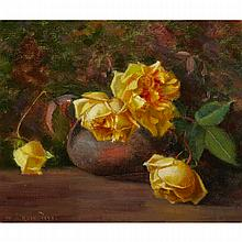 MARY HIESTER REID, O.S.A., A.R.C.A., STILL LIFE WITH YELLOW ROSES, oil on canvas, 12.5 ins x 14.5 ins; 31.8 cms x 36.8 cms