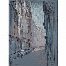 JOSEPH FRANCIS PLASKETT, R.C.A., RUE DE PARIS AVEC LES VOITURES, pastel, 25 ins x 18.5 ins; 63.5 cms x 47 cms