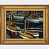 """Andre Lhote (1885-1962), SOIR SUR LE PORT, 1947, Oil on panel; signed lower right, titled, dated """"en 14 R le 8 aout 47"""" and inscribed """"pinxit"""" in black ink verso, 18"""