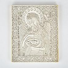 Russian Relief Carved Bone Icon, Kholmogory, 19th century, 4.7