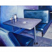 BRIAN KIPPING, THE BLUE BOOTH, oil and wax on wood, 11 ins x 14 ins; 27.9 cms x 35.6 cms