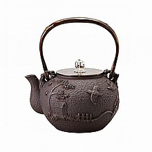 Iron and Mixed-Metal Teapot, Tetsubin, Meiji Period, Late 19th Century