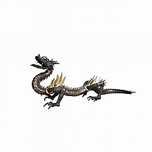 Rare and Small Silver Jizai (Fully Articulated) Okimono of a Dragon, Meiji Period, 19th Century