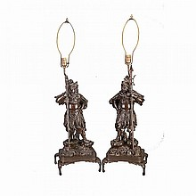 Pair of Large Bronze Guardians, Meiji Period, 19th Century