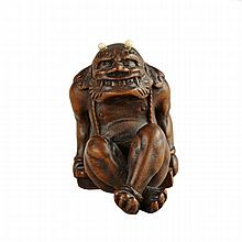 Boxwood and Ivory Netsuke of an Oni, 19th Century