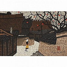 Kiyoshi Saito (1907-1997), TWO VIEWS OF PERSIMMON TREES