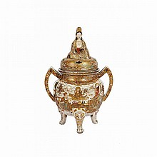 Large Satsuma Censer and Cover, Meiji Period, Late 19th Century