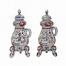Rare Pair of Ko-Imari Coffee Urns, Edo Period, 18th Century