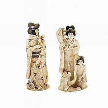 Two Tinted Ivory Okimono of Ladies, Meiji Period, 19th Century