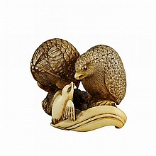 Ivory Netsuke Quail Group, 19th Century