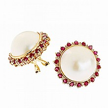 Pair Of 14k Yellow Gold Button Earrings, each bezel set with a mabe pearl encircled by 18 small single cut diamonds and 18 small full cut rubies