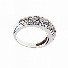 18k White Gold Ring, set with 79 small brilliant cut diamonds