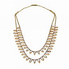 14k Rose Gold Double Strand Fringe Necklace, set with 52 pear cut pale aquamarines