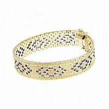 14k Three Colour Gold Strap Bracelet