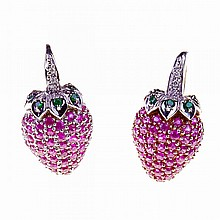 Pair Of 14k White Gold Earrings, formed as strawberries and each set with 49 small full cut rubies, and decorated with small brilliant cut diamonds and tsavorite garnets