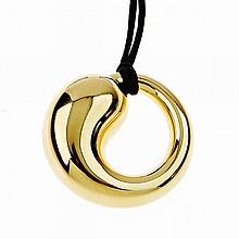Tiffany & Co. Elsa Peretti Spanish 18k Yellow Gold Eternal Circle Pendant, suspended on a black silk cord