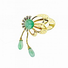 14k Yellow And White Gold Brooch, set with a circular jadeite cabochon (15.0mm dia.) and 16 small single cut diamonds, suspending 2 jadeite drops