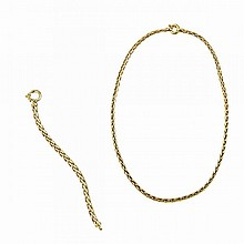 Italian 18k Yellow Gold Rope Chain and Bracelet
