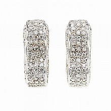 Pair Of 18k White Gold Earrings, each set with 65 brilliant cut diamonds (approx. 1.00ct.t.w. per earring)