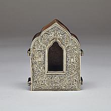 Silver and Copper Alloy Portable Shrine, Tibet, Circa 1900, height 3.9