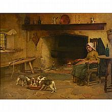 Leghe Suthers (1855-1924), DINNER TIME, Oil on canvas; signed lower left, signed and titled from the artist's studio at