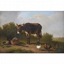 Eugene Verboeckhoven (1799-1881), MIDDAY REST, Oil on panel; signed and dated 1868 lower left; signed and certified by the artist at