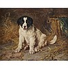 George Augustus Holmes (1822-1911), SPANIEL PUPPY IN A BARN, Oil on canvas; signed lower left, 14