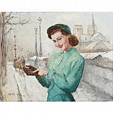 Pal Fried (1893-1976), FRANCINE (WEARING A GREEN DRESS IN THE SNOW,  NOTRE DAME), Oil on canvas; signed lower left, titled verso. Unframed., 24