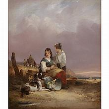 William Shayer Sr. (1787-1879), FISHERMAN'S CHILDREN, Oil on panel; signed lower left, signed at