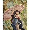 Pal Fried (1893-1976), RITA (BLUE DRESS WITH PINK UMBRELLA), Oil on canvas; signed lower left, titled verso, 30