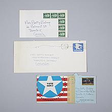 Richard Tuttle (1941- ), THREE ENVELOPES, The first, a standard blue envelope collaged with a colour print taken from a magazine: