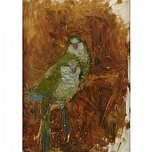 Carl Fahringer (1874-1952), PARROTS ON A BRANCH, Oil on gray board; signed with initials in pencil lower right; signed and numbered