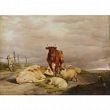 Thomas Sidney Cooper (1803-1902), SHEEP AND CATTLE BY A TIDAL FLAT, Oil on canvas; signed and dated 1837 lower left, 18