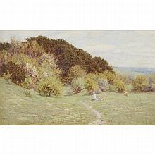 Helen Allingham (1848-1926), PICKING PRIMROSES, Watercolour on thick paper; signed lower right; titled to the backing paper remaining on the frame verso, Sheet 13