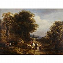 Richard Hilder (1813-1852), GYPSIES WATERING COWS ALONG A COUNTRY ROAD, Oil on canvas; signed lower right, 18