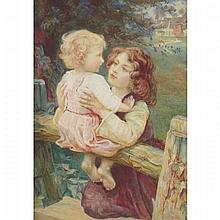 Frederick Morgan (1856-1927), YOUNG SIBLINGS AT THE GARDEN FENCE, Watercolour; signed lower right, 23.75