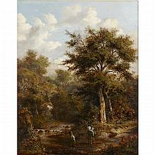 Richard Hilder (1813-1852), CHILDREN CROSSING A STREAM, Oil on canvas; signed lower left, 20.5
