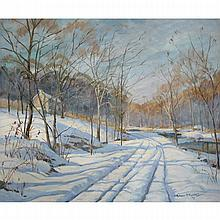 Wilmer Siegfried Richter (1891-1993), COBBS CREEK ROAD, Oil on canvas; signed and dated 43 lower right, titled to the stretcher, 24.75