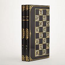 Victorian Black Lacquered, Abalone Inlaid and Parcel Gilt Games Board Box, 19th century, open 16.1