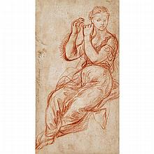 """Antonio Filocamo (1699-1743), MUSE WITH ARMS UPHELD (SKETCH OF A WOMAN'S HEAD AND SHOULDERS, AND ARMS VERSO), Sepia chalk drawing on laid paper, the recto signed and dated """"11 / 697"""" in pencil, the verso with sepia chalk sketch (aligned the"""