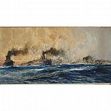 """Charles Edward Dixon (1872-1934), THE FIRST CANADIAN CONTINGENT ESCORTED BY PRINCESS ROYAL, 1915, Watercolour and gouache on paper; signed and dated 1915 lower left, titled in the bottom margin, inscribed """"Canada"""" in blue ink verso, Image 23.5"""