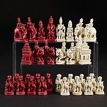 Thai Carved Bone and Ivory Figural Chess Set, 19th century, height 3.1