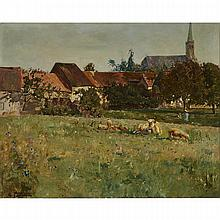 Edmond Marie Petitjean (1844-1925), A VILLAGE PASTURE WITH COWS, Oil on canvas; signed lower left, 25.5