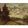"""Paul Desire Trouillebert (1829-1900), PAYSAGE DE RIVE ET BOURG, Oil on canvas; signed lower left, partial title """"Vue a M..."""" and numbered No. """"30"""" to a partial old printed label to the stretcher, 14"""