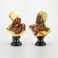 Pair of Large Austrian Cold Painted Copper Electrotype Busts of North African Companions, c.1880, height 28