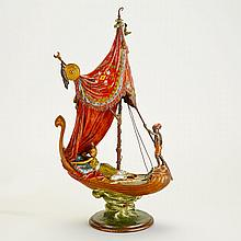 Bergman Cold Painted Bronze Group of an Odalisque in a Gondola, c.1900, height 18