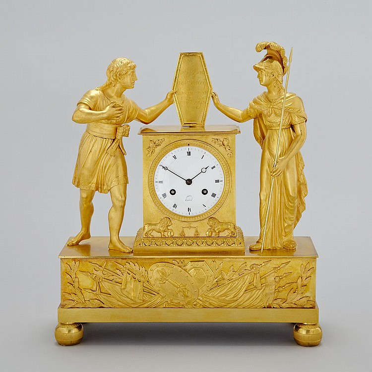 French Empire Gilt Bronze Figural Mantle Clock, Paris, early 19th century, height 16