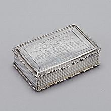 Victorian Silver Rectangular Table Snuff Box, Nathaniel Mills, Birmingham, 1842, length 3.7